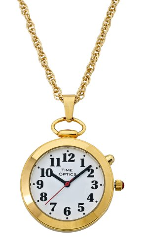 TimeOptics Women's Talking Gold-Tone Pendant Alarm Watch