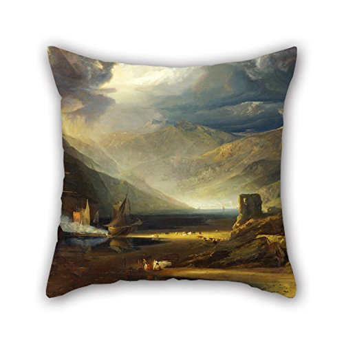 Slimmingpiggy Cushion Cases Of Oil Painting Anthony Vandyke Copley Fielding - A Scene On The Coast, Merionethshire - Storm Passing Off,for Father,boy Friend,family,club,kitchen,bedroom 20 X 20 Inch