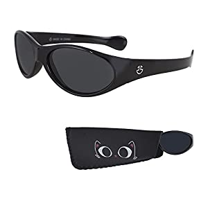 Sunglasses for Babies – Smoked Lenses - Reduces Glare, 100% UV Protection for Infants and Toddlers Ages 1 Month to 3 Years - Shiny Black Frame - Matching Pouch - By Optix 55