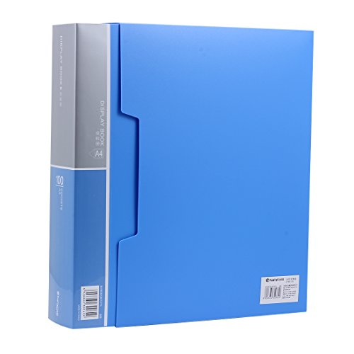 (Ipienlee 100-Pocket Protector Presentation Book, A4 Size, 200-Page Capacity,Available for Report Sheets,Artworks,Music Sheets,Clippings, Random Color, (80-POCKET) (Sky Blue - 100))
