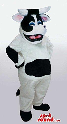 Customised Happy White And Black Cow Plush Mascot SpotSound US (Plush Cow Mascot Costume)
