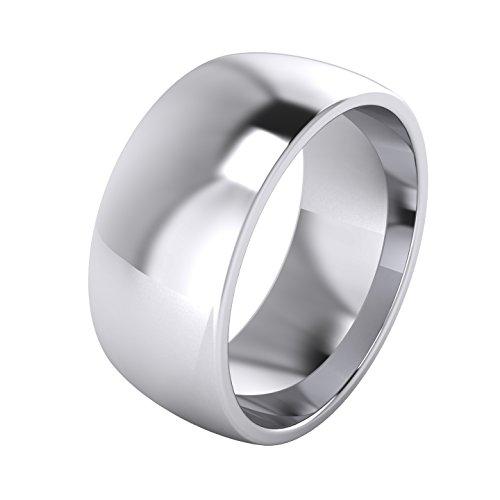 LANDA JEWEL Mens Sterling Silver 9mm Super Heavy Court Shape Polished Wedding Ring (8.5)