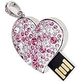 Memoria USB 2.0 (16GB), diseño de corazón con diamantes de imitación, color rosa