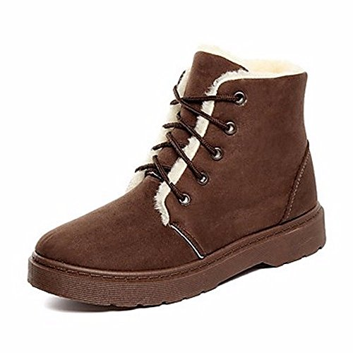 Heel Gray Fall For Up Casual Boots Black Low Snow Boots Beige Toe Round ZHUDJ Brown Shoes Lace Brown Women'S EHP4Wqn70Z