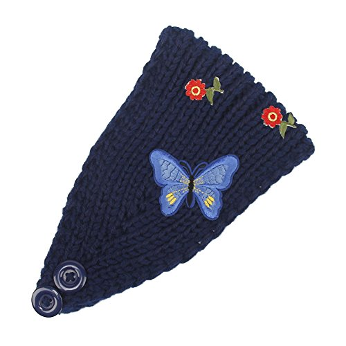 Urberry Women Knitted Headband with Crystal Dotted (Butterfly-Blue) (Butterfly Headband Crystal)