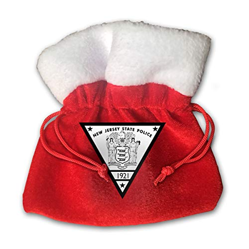 Sfgggerrd New Jersey State Police Reusable Kids Christmas Drawstring Pouches Candy Jewelry Gift Bag Santa Present