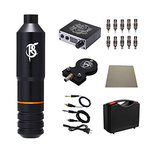 Rattlesnake Complete Rotary Tattoo Pen Machine Kit with Cartridges Tattoo Needles Digital Power Supply Foot Pedal (black)