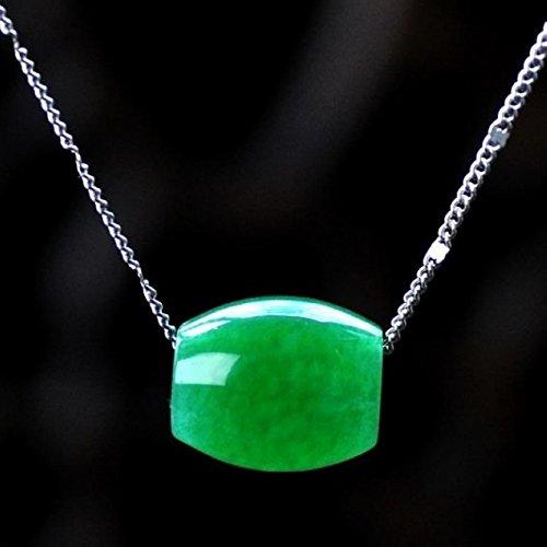 usongs Malay jade necklace pendant emerald green Passepartout transfer beads send 925 silver plated necklace pendant chain necklace pendant jewelry women girls models