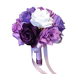 Angel Isabella Toss Bouquet - Purple Lavender White Rose 120