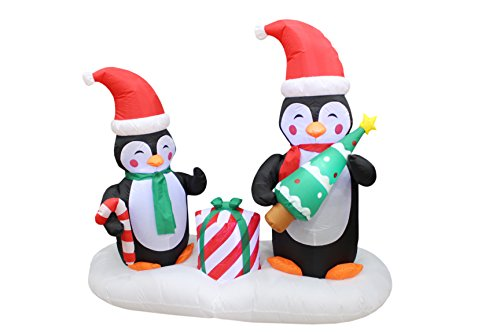 6 Foot Long Lighted Christmas Inflatable Two Happy Penguins Holding Christmas Tree and Gift Box and Candy Cane Indoor Outdoor Yard Art (2 Dogs Holding A Present Costume)