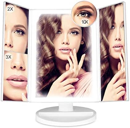 Makeup Mirror with 3 Color Lighting Lights, 88 LED Tri-Fold Vanity Mirror with 10x 3x 2x 1X Magnification, Touch Screen Dimming, 180 Degree Rotation Tabletop Mirror, Portable Cosmetic Light Up Mirror