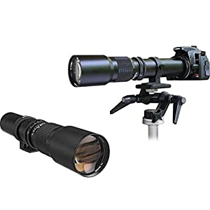 Super-Powered 500mm/1000mm f/8.0 Telephoto Lens (Black) with 2X Professional Multiplier for Olympus Digital Cameras and Deluxe Accessory Bundle with Xpix Cleaning Kit