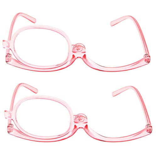 2 Pack Magnifying Makeup Glasses Eye Make up Womens Cosmetic Reading Glasses Spectacles Flip Over Lens Folding (Pink, 2.00) - Makeup Magnifying