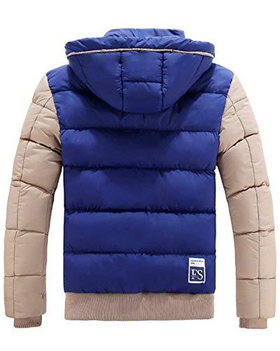 Giù Outwear Blau Intasca Lato Con Caldo Unico Giacca Uomini Cappuccio Cappotto qwFCT8fx