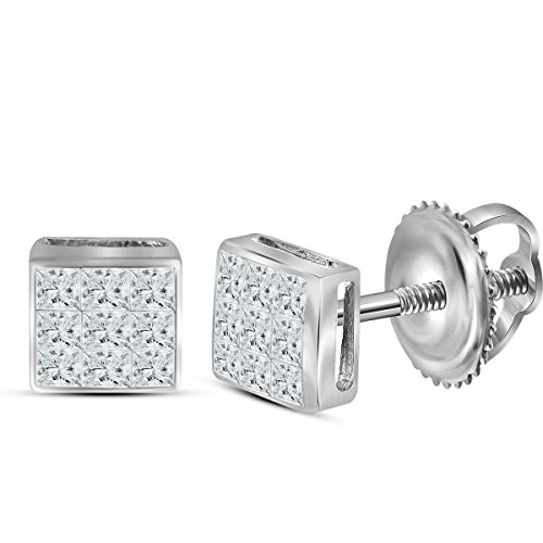 14kt White Gold Womens Princess Diamond Square Cluster Stud Earrings 1/4 Cttw (Gold Birthstone Cluster 14kt Earrings)
