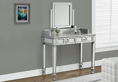 - Monarch Specialties Brushed Silver/Mirrored Vanity with 2 Drawers, 36-Inch