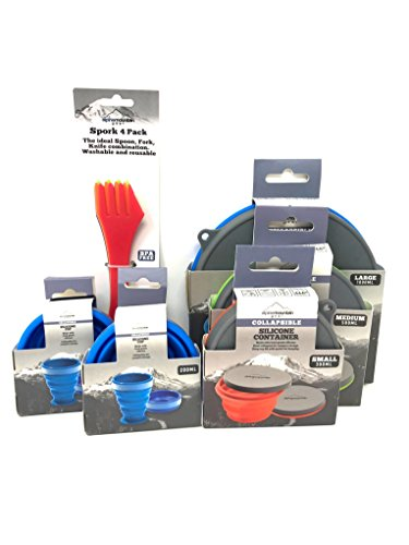Alpine Mountain Gear Complete set of collapsible bowls, cups and 4 pack of sporks. Great for Camping, RV, Backpacking, Picnics – Ideal as a Dog Food & Water Bowl - ()