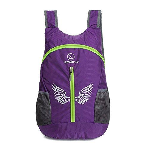 Wewod Hombre Mujer Moda Impermeable Plegable Mochila de Al Aire Libre de Senderismo Deportiva Viaje 30 x 47 x 12 cm (L*H*W) (Rojo) Púrpura