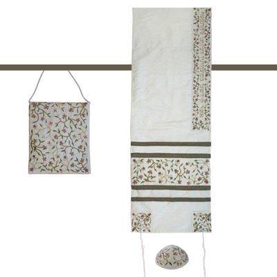 Tallit Prayer Shawl Gadol + Bag + Kippah + Atara Set - Yair Emanuel EMBROIDERED RAW SILK FLOWERS WHITE (Bundle)