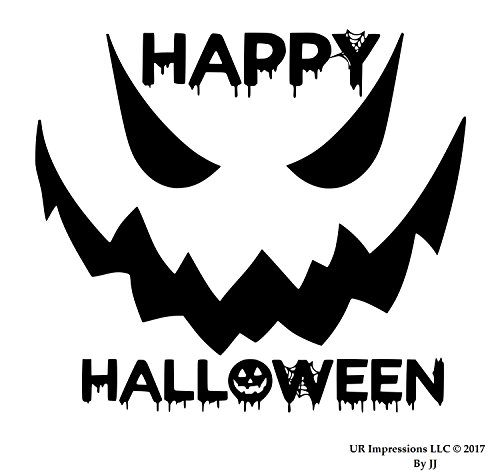 UR Impressions MBlk 24in. Happy Halloween Spooky Face Decal Vinyl Sticker Graphics Car Truck SUV Van Wall Window Door Laptop|Matte Black|24 X 20.5 Inch|JJURI150-MB