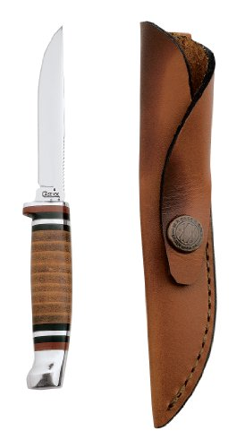 Case Cutlery 379 Case M3FINN Leather Hunter with Stainless Steel Fixed Blade Leather, Outdoor Stuffs