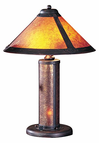 Mission Night Light Table Lamp - Rust 80 Watt 20in. Craftsman / Mission Table Lamp with On/Off Switch, Night Light and Round Mica Shade