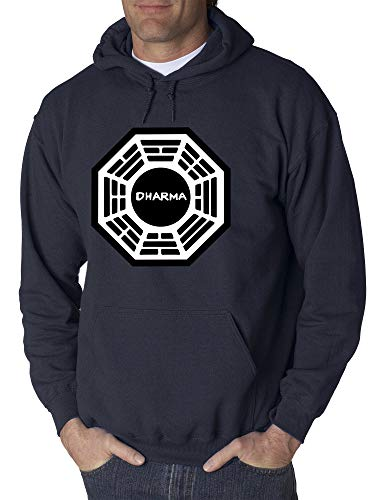 Trendy USA 904 - Adult Hoodie Dharma Initiative Research Project Lost Unisex Pullover Sweatshirt Small Navy