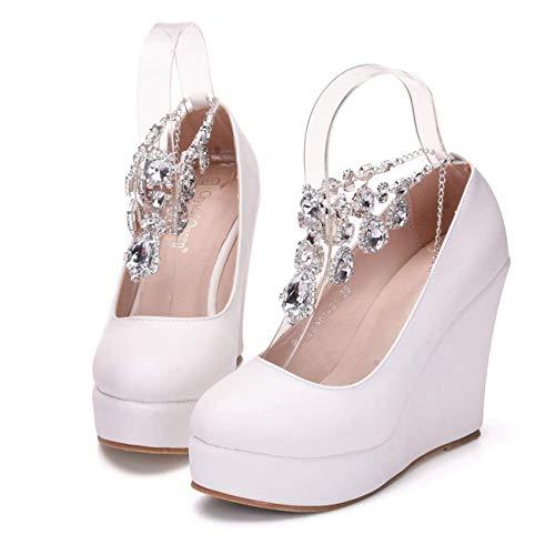 Raso Raso Colore Caviglia Dimensione alla Bianco da Cinturini Tacco Tacco Donna in Tallone da e ZHRUI Sposa con Alto PwzW4Z
