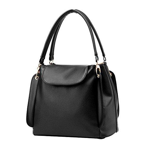 Price comparison product image Moonwind Top Flap 3 Layers Bucket Tote Handbag Women PU Leather Shoulder Purse (Black)