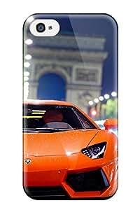 OWUoodT3861HYERS CaseyKBrown Lamborghini Aventador Night Shot Durable Iphone 4/4s Tpu Flexible Soft Case