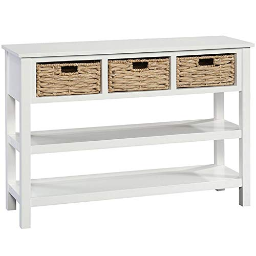 Sauder Cottage Road Console with Baskets, White finish