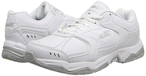 AVIA Women's Avi Union Service Shoe, White/Chrome Silver/Steel Grey, 9 B(M) US
