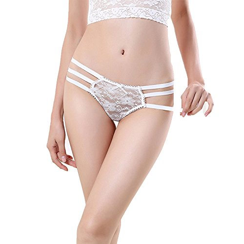 2018 Women Sexy Bandage g String Thongs Panties Lace Transparent Underwear,KL38 White,One Size