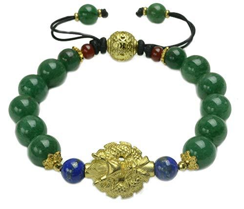 Elegant Imperial Golden Flying Dragon Green Jade Bracelet - Fortune Jade Jewelry ()