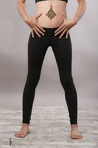 Handmade Black Cotton Lycra Women's Yoga Tights Pants, Cotton Gym Leggings, Bohemian Activewear Clothing by SamayaFashion