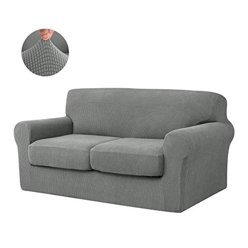 CHUN YI Stretch Sofa Slipcover Separate Cushion Couch Cover, Armchair Loveseat Replacement Coat for Ektorp Universal Sleeper, Checks Spandex Jacquard Fabric (Medium,Dove Gray)
