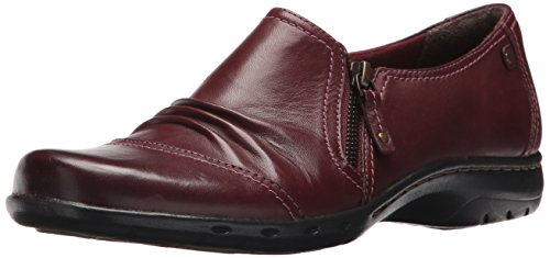 Cobb Hill Womens Penfield Zip Flat Brick Leather
