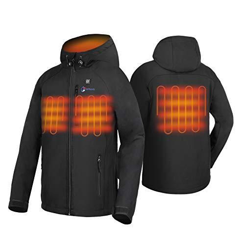 41mXJrBg3rL. SS500 4 Grandes Zonas de Calentamiento: La chaqueta térmica OUTCOOL tiene elemento de calefacción en 4 zonas: pecho izquierdo, pecho derecho, espalda y cuello. Tecnología de calentamiento rápido de alta calidad, que se calientan rápidamente durante los períodos fríos al emitir una buena cantidad de calor 4 Modos de Control de Temperatura: La chaqueta térmica calentada tiene 4 modos de control de temperatura de diseño: ① Precalentamiento: luz roja intermitente, calentamiento rápido; ② temperatura alta: luz roja; ③ temperatura media: luz blanca ; ④ temperatura baja: luz azul Capa Exterior Impermeable y Forro Polar: La chaqueta térmica térmica tiene una capa exterior hecha de tela impermeable a prueba de viento y tiene un buen efecto protector en el mal tiempo; el forro interior es de felpa, más abrigado y muy adecuado para escalada al aire libre, esquí, motociclismo, etc.