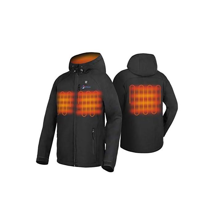 41mXJrBg3rL 4 Grandes Zonas de Calentamiento: La chaqueta térmica OUTCOOL tiene elemento de calefacción en 4 zonas: pecho izquierdo, pecho derecho, espalda y cuello. Tecnología de calentamiento rápido de alta calidad, que se calientan rápidamente durante los períodos fríos al emitir una buena cantidad de calor 4 Modos de Control de Temperatura: La chaqueta térmica calentada tiene 4 modos de control de temperatura de diseño: ① Precalentamiento: luz roja intermitente, calentamiento rápido; ② temperatura alta: luz roja; ③ temperatura media: luz blanca ; ④ temperatura baja: luz azul Capa Exterior Impermeable y Forro Polar: La chaqueta térmica térmica tiene una capa exterior hecha de tela impermeable a prueba de viento y tiene un buen efecto protector en el mal tiempo; el forro interior es de felpa, más abrigado y muy adecuado para escalada al aire libre, esquí, motociclismo, etc.