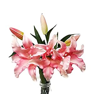 """Floral Kingdom 30"""" Long XLarge Real Touch Easter Tiger Lily Artificial Spring Flowers (3 pcs) 23"""