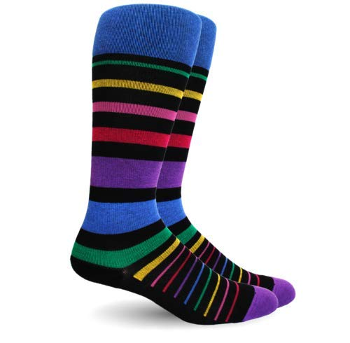 Black Cosmic Socks - Dr. Segal's 15-20 mmHg True Graduated Compression Socks, Stripe Cotton Black Multi (Large)