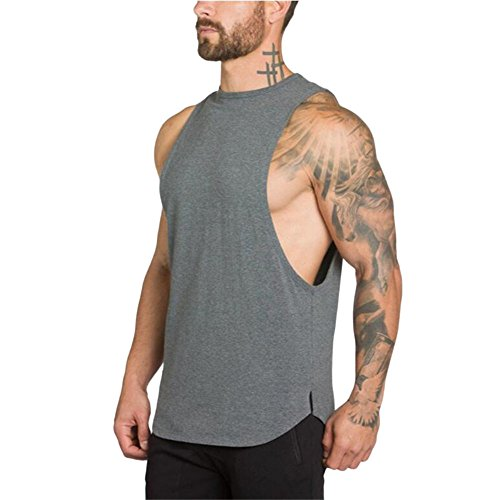 MODOQO Men's Tank Tops Fitness Sleeveless Cotton O-Neck T-Shirt Gym Vest(Grey,M) by MODOQO (Image #2)