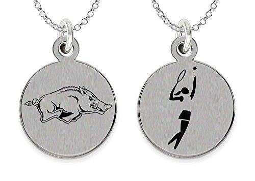 College Jewelry University of Arkansas Charm Razorbacks Tennis Charm Necklace