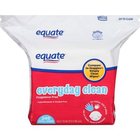 Equate Everyday Clean Fragrance Free Refill Wipes with Natural Aloe and Vitamin E, 240 Sheets