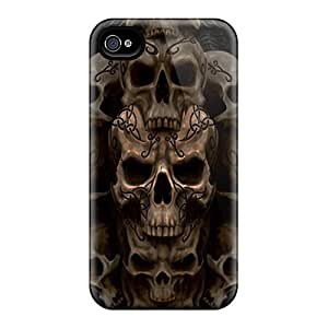 6Plus Perfect Tpu Case For Iphone 4/4s/ Anti-scratch Protector Case (skull Stack)