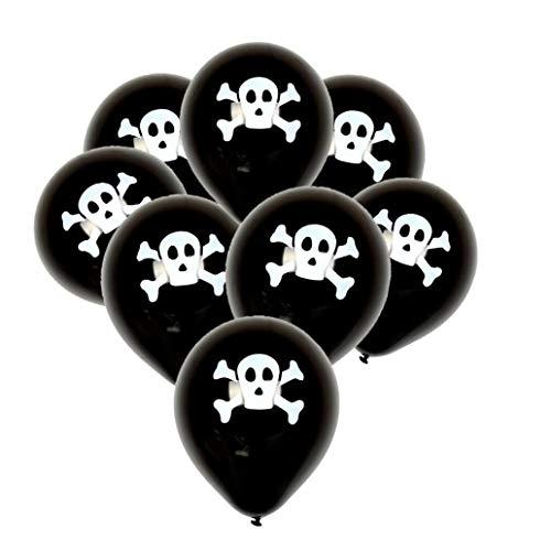 certainPL 100Pcs Halloween Balloons Set, Happy Halloween Hanging Decoration Spooky Ghost Skull for Halloween Party Supplies (B)]()