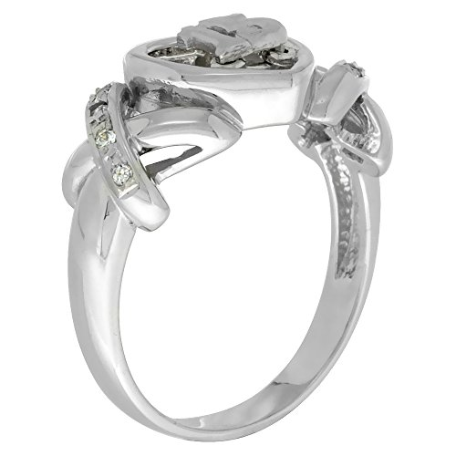 Sterling Silver Quinceanera 15 Anos Ring Hearts and Kisses CZ stones Rhodium Finished, 3 8 inch wide, sizes 5 – 8