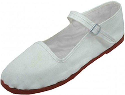Easy USA Women's Cotton Mary Jane Shoes Ballerina Ballet Flats Shoes White 114