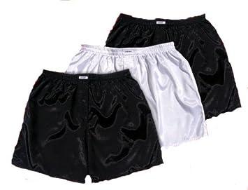 Thaisilk Negro Blanco Negro de Seda tailandesa Boxer Pantalones Cortos Ropa Interior Pijamas de Hombres 3