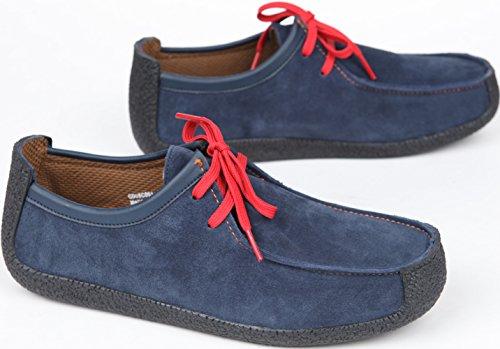 Gadae-001 Unisex Klassiska Läder Mockasin Dagdrivare Skor Navy